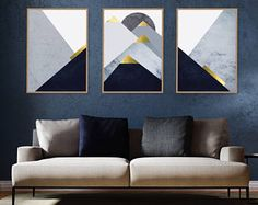 A frame can change the whole space not only the wall! So add a touch of luxury to your space with our new set of frames! Triptych Wall Art, Minimalist Poster, Gold Paint, Geometric Art, My New Room, Printable Art, Wall Art Decor, Navy Gold, Artwork