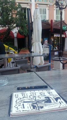 "#Sketching and #drinking #coffee at #placeD""Armes @Monaco #marche #zoiaskoropadeko #contemporaryart #artistinmonaco"