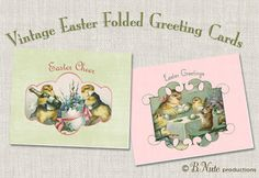 bnute productions: Free Printable Vintage Easter Folded Cards
