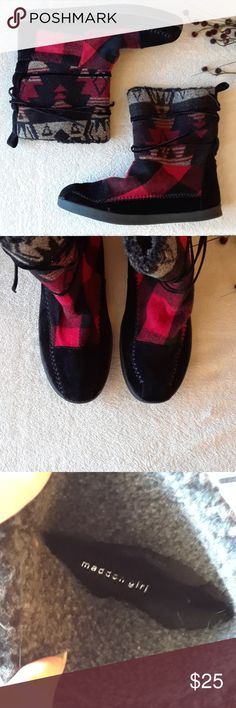 Madden Girl Boots Madden Girl Aztec and Plaid Boots. Perfect condition! Madden Girl Shoes Ankle Boots & Booties