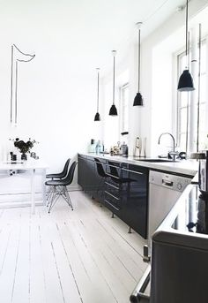 black, white, steel kitchen
