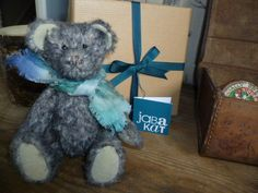 'Enry' One of three 'scruffy' bears from JABAKAT, complete with hand dyed scarf and gift box.