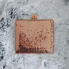 Birthday    SOLD OUT -Currentdelivery is now anticipated by 15th May 2017   Pre - Order now to secure your Pesh Wallet💋  Product Details & Material:  Constructed from our trademark brass mesh Centre coin pouch attached to a solid pure brass frame Rose Gold plated hardware Textured clasp Six credit card slots One full length cash (notes) sleeve Two bill pockets Rose Gold lining   Dimensions:  Closed- W11.5cm x L10cm Open- W11.5cm x L 20.5 *All Pre-Order shipping timeframes wil...