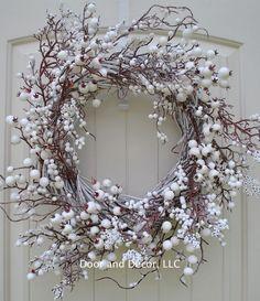 Winter wreath, holiday wreath, Christmas wreaths, snow wreath, front door wreaths Diameter = o Front Door Decor, Wreaths For Front Door, Door Wreaths, Front Doors, Wreath Bows, Snowflake Wreath, Diy Wreath, Holiday Wreaths, Christmas Decorations