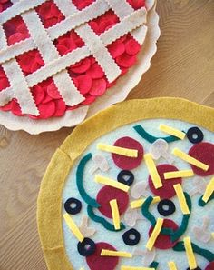 Felt Hoop Artwork from WhiMSy love.  Cherry pie and pizza made with felt and embroidery hoops.