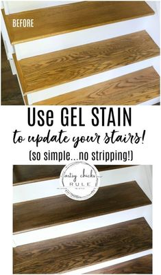 Update Stairs with Gel Stain (so simple!) Update Stairs with Gel Stain (SO EASY.) Perfect product for the average homeowner. Simple, quick and beautiful results! Staining Stairs, Refinish Stairs, Redo Stairs, Basement Stairs, Stair Redo, Stairs Upgrade, Minwax Gel Stain, Stair Renovation, Staircase Makeover