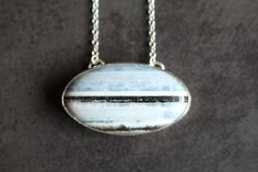 Oval Seascape Necklace/Blue Opal Necklace/Blue Opal Pendant/Caithness/Scotland/North Sea/Sea Jewellery/Dunnet Head/Beach/Hallmarked
