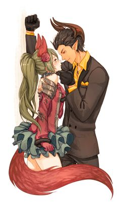 1boy 1girl against_wall animal_ears bare_shoulders black_gloves brown_hair castanic_(tera) chin_lift clenched_hand detached_collar detached_sleeves elin_(tera) flower flower_on_head formal fox_ears fox_tail fur_trim gloves grey_hair hand_on_own_chest hand_on_wall highres horns long_hair long_sleeves looking_down nipuni parted_lips pointy_ears red_gloves ruffled_skirt short_hair smile suit tail tera_online traditional_media twintails wall_slam watercolor_(medium) yellow_shirt