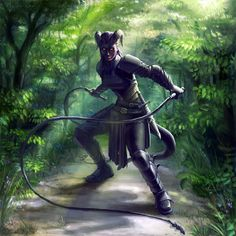 f Tiefling Rogue Assassin w dual whips forest path RPG Female Character Portraits