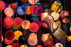 Patio Lanterns - small paper or plastic bags  blown up, or casings, around christmas tree lights