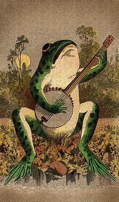 Frog playing a banjo art Photo Wall Collage, Collage Art, Arte Indie, Frog Art, Arte Sketchbook, Art Et Illustration, Hippie Art, Poster Prints, Art Prints