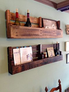 reclaimed pallet wood shelf, wine rack, magazine rack, hanging wall organizer, rustic shelf, book, storage