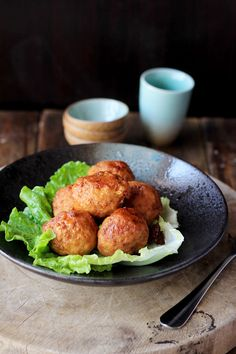 Lion's Head (Chinese Meatballs)  - this recipe calls for deep frying - however I would oven fry them on a broiler pan to drain the excess fat.
