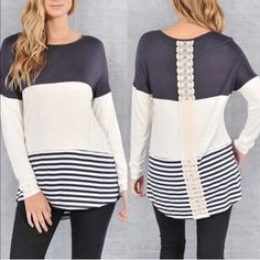 PRIMROSE color block striped top - NAVY Warm colors for this fall season! Beautiful back design. AVAILABLE IN NAVY & BLACK. NO TRADE, PRICE FIRM Bellanblue Tops Tees - Long Sleeve