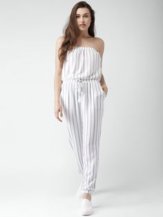 White & Blue Rayon Striped Tube Jumpsuit  #Jumpsuit #White #Blue #Rayon #Striped https://bellanblue.com/collections/new