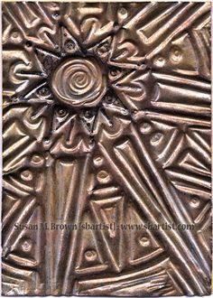 "#MixedMedia Weathered Metal / Embossed ""Bronzed Sun"" #ATC by Susan M. Brown {sbartist}"