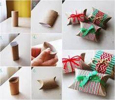 Kleine Schachteln aus Toilettenpapierrollen falten