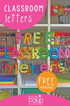 Printable Bulletin Board Letters Free DIY classroom bulletin board letters for displays, signs, messages and hallways! 2nd Grade Classroom, New Classroom, Classroom Setting, Classroom Design, Kindergarten Classroom Door, Art Classroom Decor, Themes For Classrooms, Bulletin Board Ideas For Teachers, Classroom Window Decorations