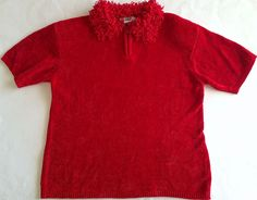 Lisa International Chenille Sweater Top Womens Size L Red Short Sleeve Christmas #LisaInternational #TopSweater
