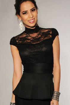 Beauty online new 2014 women clubwear Tops new 2014 Fashion  Lace Accent Peplum Top