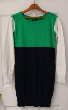 GapKids Girl's Sweater Dress XL 12 Blue Green White Buttons Colorblock School