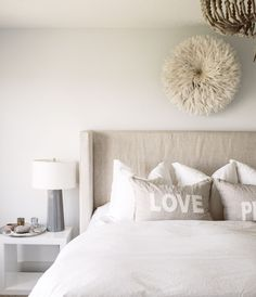 We LOVE these love pillows + the linen material   Sarah Swanson Design