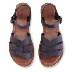 Dámské černé sandálky TOMS Leather Zoe