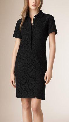 Черный Платье-рубашка из французского кружева - Изображение 1