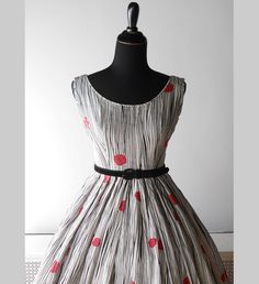 "1950s Sundress // Floral ""Pen and Ink"" Atomic Print Dress.. $168.00, via Etsy.  MyVintageValentine"