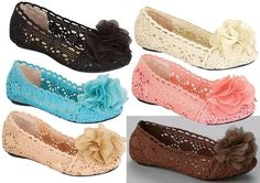 New Kids Girls Flat Crochet Ballet Shoes Size 9-4 Black, Blue, Camel,Coral15$
