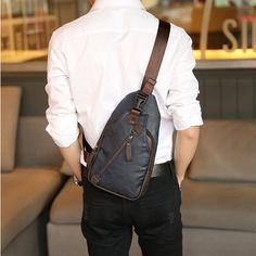Men Retro PU Leather Crossbody Bag Capacity Leisure Shoulder Chest Bag is worth buying - NewChic