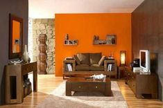 22 Modern Interior Design Ideas Blending Brown and Orange Colors into Beautiful Rooms Living Room Decor Colors, Living Room Paint, Living Room Grey, Interior Design Living Room, Burnt Orange Living Room, Orange Rooms, Bedroom Orange, Orange Accent Walls, Beautiful Living Rooms