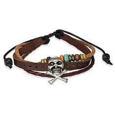 Surfer Zen Braided Leather Wrap Bracelet Pirate Skull ($13) ❤ liked on Polyvore featuring jewelry, bracelets, brown, leather cord bracelet, braided rope bracelet, leather charm, leather wrap bracelet and braid charms