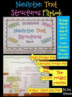 $ This product is designed to teach  students about the 5 types of text structures.                  DESCRIPTION,                SEQUENCE,                CAUSE AND EFFECT,                COMPARE AND CONTRAST,                PROBLEM AND SOLUTION, Each of the five structures follows the same layout, and contains FIVE PAGES which will allow you and your students to study and analyze that particular structure.   https://www.teacherspayteachers.com/My-Products/Digital-Products/24853