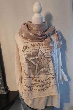 xxl Shirt 2in1 Pulli oversized beige Stern Nieten Schrift Pullover 42 - 46