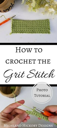 This is a photo tutorial for how to crochet the grit stitch. It's an easy stitch to do, but there are quite a few variations. Very detailed stitch tutorial.