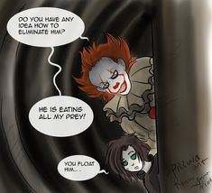 Fan art: Annabel my oc in his world and It Pennywise. In this scene, I imagined a stronger monster than he and so asks Annabel (you eat the energies of humans) :xD: ----------- In questa scena, io mi sono immaginata un mostro più forte di lui e quindi chiede ad Annabel (Lei mangia l'energie degli esseri umani) :XD:  Also on commissions, for info send me  a private message! :XD:  #it  #Pennywise #it_pennywise #itpennywise2017 #pennywise2017  #oc #originalcharacter #fanart