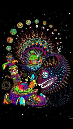 Psychedelic Art Ayahuasca Totem UV Fluorescent Print Fabric Backdrop Banner