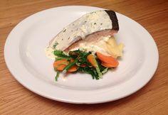 Delicious salmon in a creamy white wine sauce!