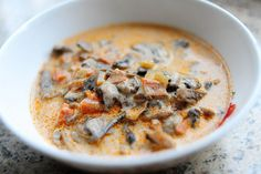 THE mushroom soup. I am eating this right now and will vouch for it's awesomeness. Wine, mushrooms, dairy and cheese--what's not to like?