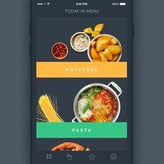 Design by #dribbble user dribbble.com/SergeyValiukh  #ui #ux #iosinspiration #ios #apple #uxdesign #uxinspiration #animation #uiinspiration #uidesign #andriod #userinterface #uidesigner #webdesign #prototype #wireframe #materialdesign Food Web Design, Potato Pasta, Ui Inspiration, Material Design, Potatoes, Menu, Cooking, Instagram Posts, Ios Apple