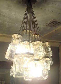 DIY mason jar chandelier...step-by-step instructions and photos.