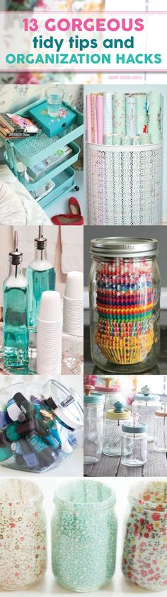 13 Gorgeous DIY Tidy Tips and Organization Hacks that I can't believe I didn't think of but fit my style perfectly! I love that nail polish jar...