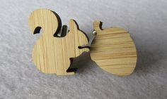 Squirrel & Acorn Wood Cufflinks