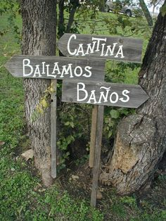 Set of 3 Spanish Wording Rustic Wood Wedding Directional Stake Signs Western Bridal With Arrow on Etsy, $54.00
