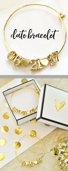Wedding Bracelets are a special Bride Gift idea from the maid of honor on her wedding day! Sparkly bangles come with a complete date - day/month/year with hearts in between - all 18k gold plated. Add a pretty gold heart topped gift box for a complete package.  ***Details***  1 DATE Bracelet Listing is for 1 bracelet - you can ADD a gift box for an additional charge - no other items are included. Bracelet is 18K gold PLATED.  Bracelet Size: 2.75 diameter  ***PERSONALIZATION***  Please make…