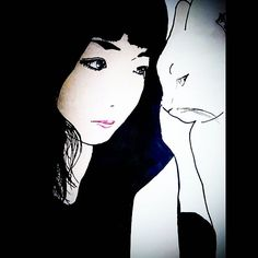 # #猫と彼女 #白と黒 #イラスト #描いてみました(^-^)