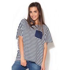 Letní dámská trička v bílo modré barvě - manozo.cz Blue Feeds, Blouse Models, Shirt Blouses, Shirts, One Piece Swimsuit, Blouses For Women, Breast, Beautiful Women, Swimsuits