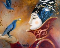 Art print. The Queen and Blue Crow by Amanda by earthangelsarts