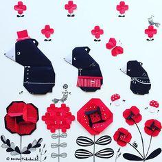 クロクマ親子どこ行くの? Where are you going black bear family? #origamiart  #origami  #papercraft  #collage #illustration  #flower  #bear #nanatakahashi  #折り紙 #イラスト #ペーパークラフト #コラージュ #お花 #クマさん  #たかはしなな